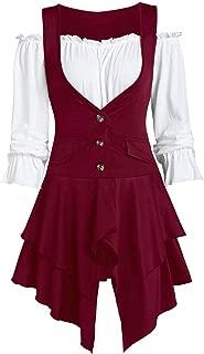 Women Plus Size Coat Lace lace Blouse Button Two-Piece Set Pocket Layered Tank Long Sleeve Irregular Party Dress