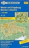Meran und Umgebung: Wanderkarte Tabacco 011. 1:25000: Merano e dintorni - TABACCO