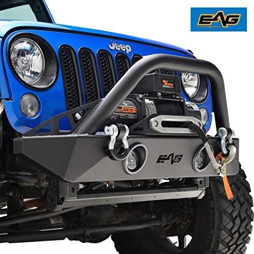 EAG Stubby Front Bumper W/LED Lights & Winch Plate Fit for 07-18 Wrangler JK