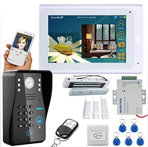 TFT, bedraad/draadloos, WLAN, RFID, voor telefoon, deurbel, systeem met elektrisch deurslot, 180 kg + IR-Cut HD1000TVL camera