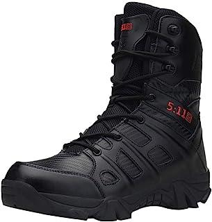 BaZheHei Chaussures de Sport Homme à Lacets Cuir Confortable Bottines Combat Militaire Désert Randonnée Résistant à l'usur...