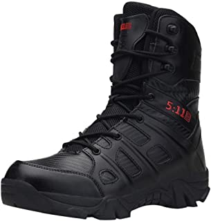 LILICHIC Men's Boots Comfortable Non-Slip Wear-Resistant Combat Hiking Outdoor Military Boots