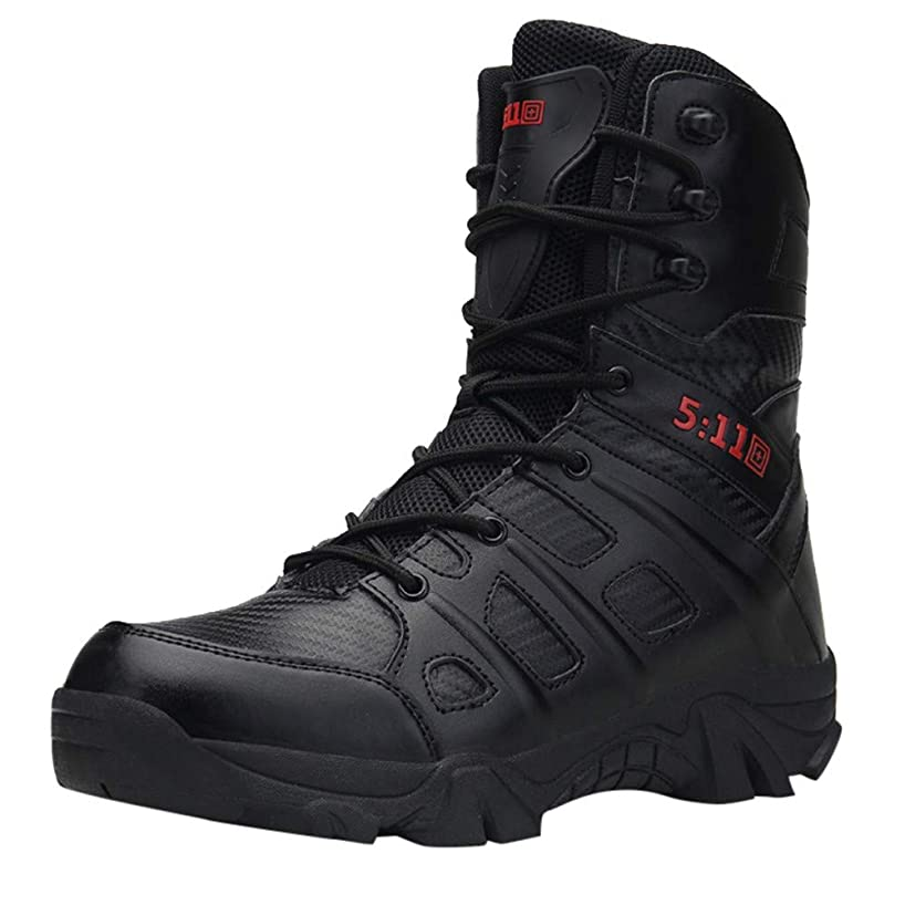 Men's Military Combat Boots,Mid Calf High Boots Wear-Resistant Walking Hiking Outdoor Shoe Non-Slip