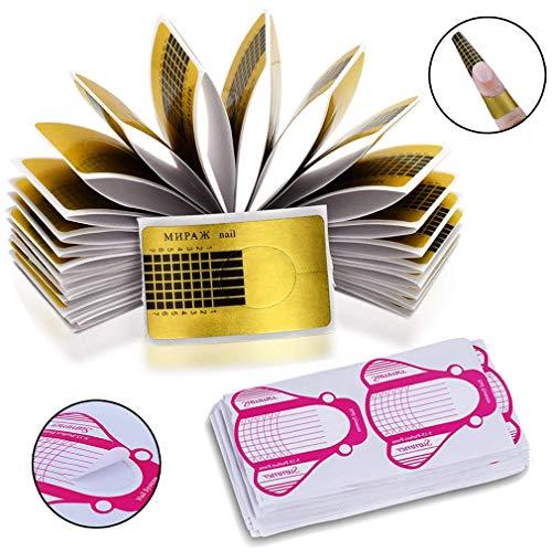 Nagel-Schablonen (600 Stück), INTVN Modellier-Schablone selbstklebend für Gel-Nägel & Nagel-Verlängerung Golden und Rosa Schablonen, künstliche Fingernagel-Modellage