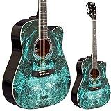 Guitarra acústica azul lindo Fractal aprendiz serie 42C & Gig Bag