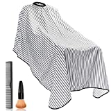 "Bircen Professional Barber Cape for Men Protector Haircut Cloth Apron Neck Duster Brush and Carbon Comb Salon Barber Supplies 3pcs, 55\""x63\"""