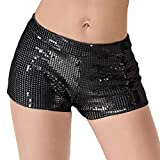 JUST BEHAVIOR Sequin Shimmer Sexy Rave Booty Shorts Hot Club Party Metallic Shorts for Women (Black, XL)