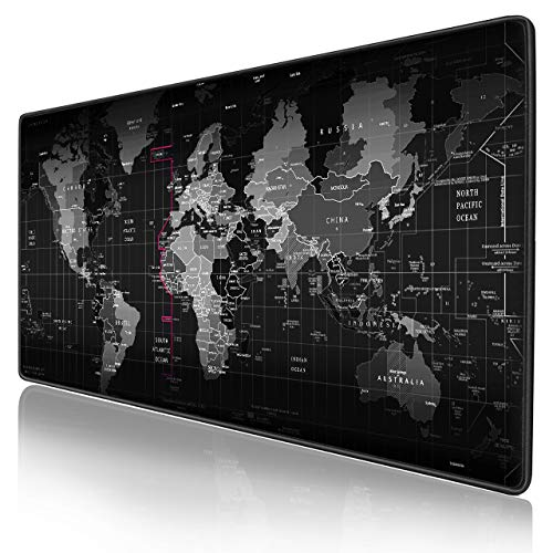 Extended Large Gaming Mouse Pad XXL Thick Non-Slip Rubber Base 900x400mm Mouse pad Mice Smooth Cloth Surface Keyboard Mouse Pads for Computers (World)