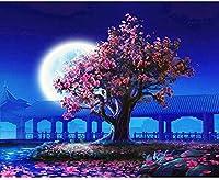 Diyデジタル絵画デジタル絵画寝室桃の花子供大人の初心者手描きアクリル絵画ギフト壁の装飾