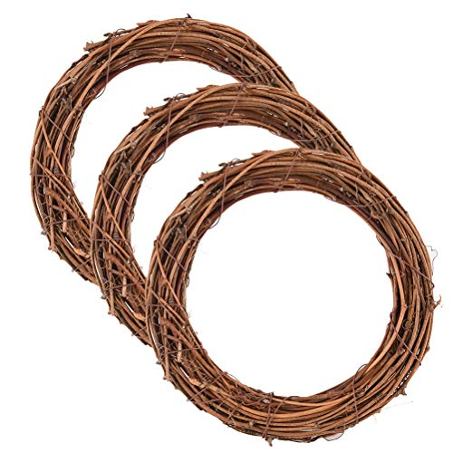 Yesoa 3 Pack Retro Christmas Wreath Grapevine Wreath Dry Rattan Natural Wreath DIY Crafts Natural Grapevine Wreaths for Xmas Door/Wall Decor Hand-woven Halloween Wreath