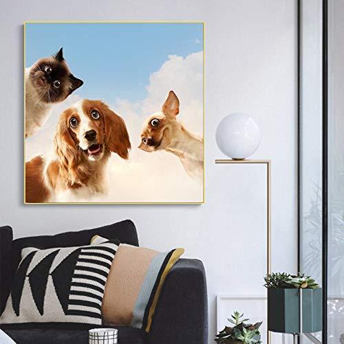 wZUN Lienzo Pintura Moda Perro Gato Animal Imagen Sala de Estar Arte Pared Moderno decoración del hogar Cartel 50X50 CM