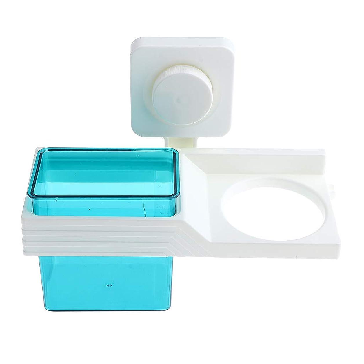振る舞うシネマ約束する壁掛けヘアドライヤーホルダーくしブラシツールラック浴室収納棚 - 青