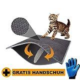 smilepet Katzenklo Matte Hygieneheld - 75x55 cm - Unterlage für Katzentoilette mit Waben Struktur - Fängt Katzenstreu auf (Schwarz)