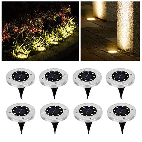 Wilktop Luces Solares para Jardín Lámpara Solar Lámpara Solar Lámpara de pie Blanco Cálido con 8 LED Lámpara de pie con Luz LED Exterior IP65 8er en el Conjunto Luz Solar Exterior