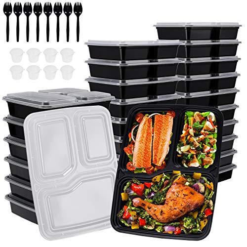 Gifort 24 Pack Contenitori per la Preparazione dei pasti con coperchi, Lunch Box Riutilizzabile Senza BPA with 8 Bicchieri per Salsa e 8 cucchiai, Compatibile microonde/lavastoviglie/congelatore
