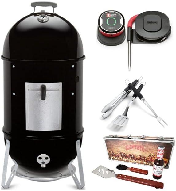 Weber Smokey Mountain Cooker 18-Inch Smoker Grill Master Bundle (4 Items)