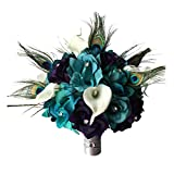 Angel Isabella 10' Large Bridal Bouquet-Lighter Teal,Eggplant Purple Open Roses,Calla Lily,Peacock Feather Bouquet