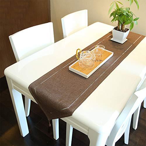 Generic Camino de mesa con aspecto de lino, lavable, elegante, tejido para el hogar, para comedor, fiestas, vacaciones, decoración, 32 x 180 cm, triángulo marrón