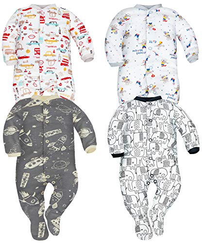 Sibinulo Nino Nina Pijama Bebé Pelele de Algodón Pack de 4 Autos Ratones Cosmos y Elefantes Negros 74(6-9 Meses)