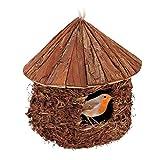 Relaxdays Casetta per Uccelli, da Appendere, Giardino, Balcone, Paglia, Legno, Nido Artificiale Decorativo,26x25,Marrone