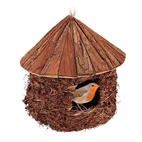 Relaxdays Vogelnest, zum Aufhängen, Garten, Balkon, Zaunkönig, Stroh, Holz, dekorative Nistkugel, HxD 26 x 25 cm, braun