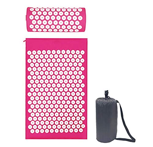 GSYNXYYA Acupuncture Massage Cushion,meditation Yoga Mat with Pillow,yoga Acupoint Massage Mat for Back and Neck,promote Blood Circulation,Pink