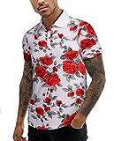 URRU Men's Cool Max Fabric Sporty Design Printed Polo T-Shirt White XXL