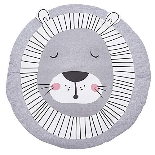 Alfombrilla de juego para bebés, Alfombrillas de algodón Alfombrillas para gatear en forma de león redondo para bebé unisex, diámetro 90 cm, 2 cm de grosor, gris