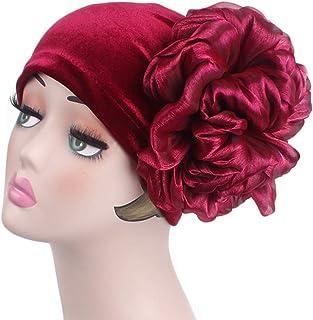 xzbailisha Women's Velvet Hats Vintage Double Flower Beanie Turban Muslim Islamic Cap