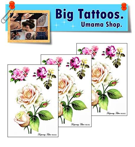 Umama Big Tattoos 3 Sheets Rose Temporary Tattoos for Women Men Adults Beautiful Tree Roses Cartoon Art Fun Party Birthday Tattoos Removable Design Sexy Body Fake
