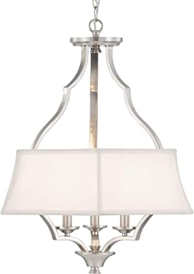 Progress Lighting P500166-009 Carriage Hill Collection Three-Light Pendant, Brushed Nickel