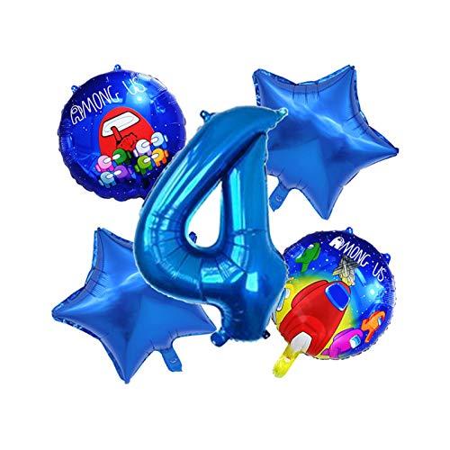 JSJJAYH Ballon 5 Teile/Satz Blaue Zahl Ballon Set Raum Cartoon Figure Folie Latex Ballon Happy Birthday Party Dekorationen décoration (Color : 4)