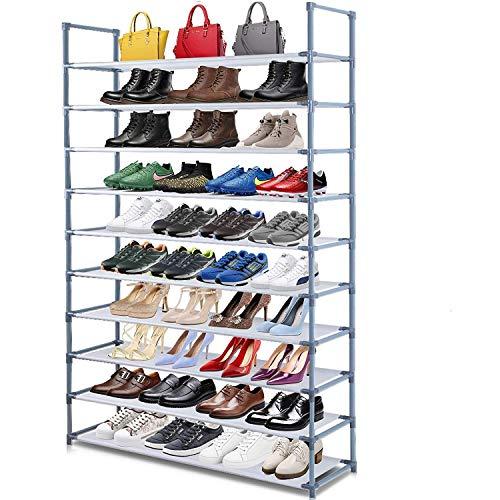 Camabel Stapelbare Schuhregal mit 10 Ebenen für bis zu 60 Paar Schuhe 175cm für Wohnzimmer, Ankleidezimmer und Flur grau stapelbares Lagerregal