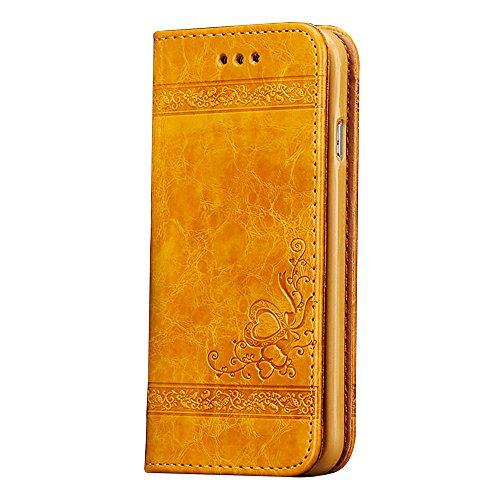 CLTPY Wallet Cover per iPhone 6s, iPhone 6 Custodia Pelle et TPU, Flip Libro Magnetica Disegni Copertina con Modello di Fiore e Amore per Apple iPhone 6/6s + 1 x Stilo Libero - Giallo