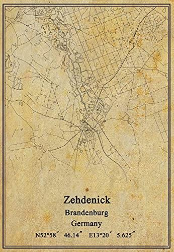 Leinwanddruck, Motiv: Deutschland-Flagge Zehdenick Brandenburg, Vintage-Stil, ungerahmt, Dekoration, Geschenk, 45,7 x 61 cm