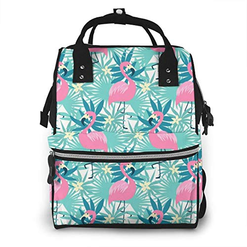 NHJYU Sac à langer, Large Capacity Waterproof Travel Ma-na-ger,baby Care Replacement Bag Versatile Stylish And Durable, Suitable For Mom And Dad,Tropical Flamingo Seamless Vector Image