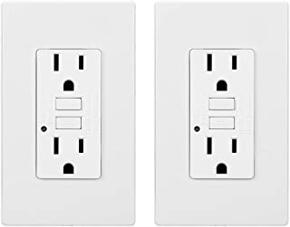 TORCHSTAR 15 Amp GFCI Receptacles, Dual AC Outlets, Surge-Protected, 2 Wall Plate Included + LED Indicator Light, ETL-listed, 120V, White, Pack of 2