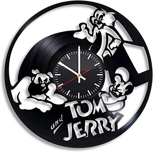Tom and Jerry Vinyl Record Retro Wandklok Nieuwjaar Kerst Verjaardagscadeau Persoonlijkheid Creatieve Home Design Wanddecoratie