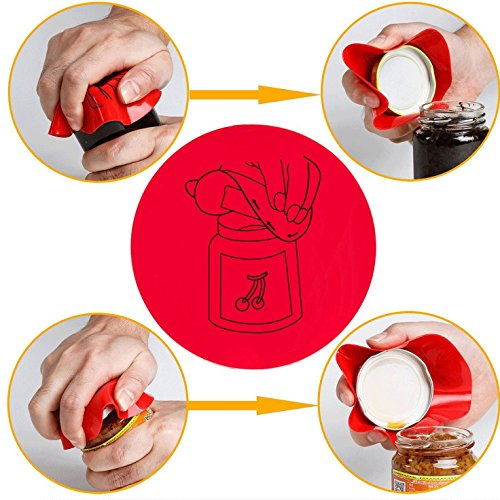 XHL-Oumin One Jar Sizes, Soda Can Bottle Opener-Ideal for Weak Hands and Seniors with Arthritis-Red