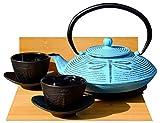 Service à thé en fonte Bleu clair Motif libellule d –, dessous de théière et 2tasses