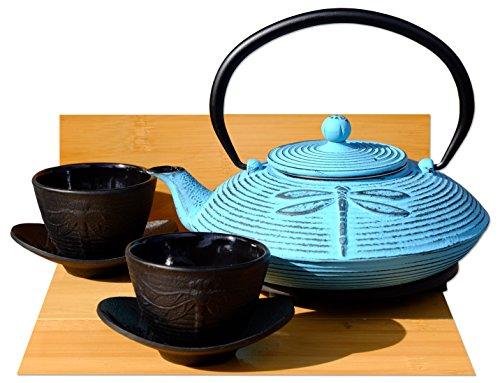 In ghisa con libellula, colore: blu tè D-Tetsubin set sottopentola& Teiera bollitore, 2 tazze
