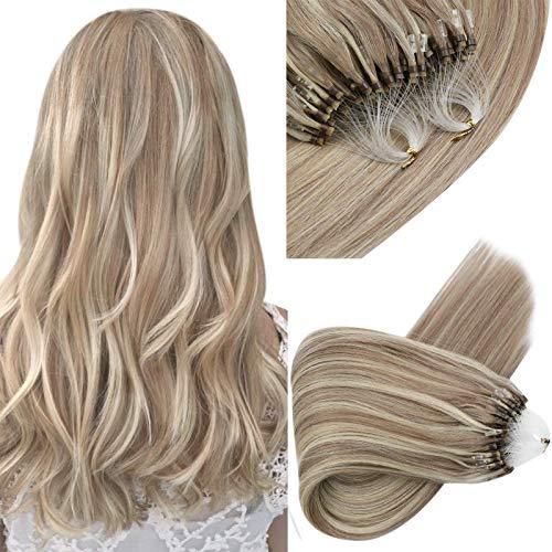 Sunny Microbead Hair Extensions Human Hair,Micro Loop Ash Blonde Highlight Bleach Blonde 100% Remy Human Hair Micro Loop Ring Hair Extensions 1g/s 16inch,50g/pack