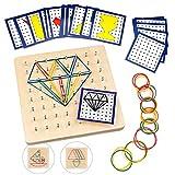 O-Kinee Geoboard de Madera, Tablero Geometría Montessori de Matemática Matriz Tabla con Tarjetas...