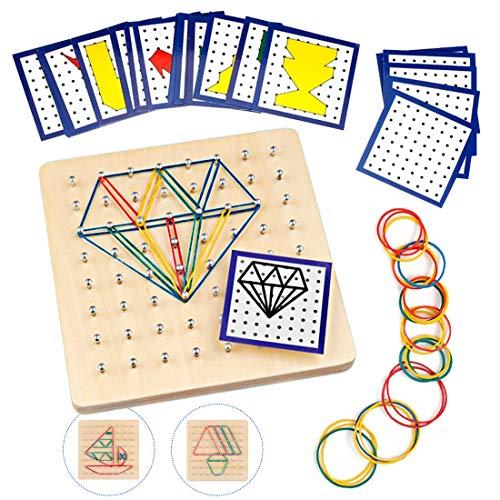 O-Kinee Geoboard de Madera, Tablero Geometría Montessori de Matemática Matriz Tabla con Tarjetas de Actividad y Bandas de Inspire la Imaginación y Creatividad de Los Niños