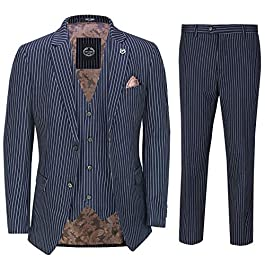 Xposed Mens Navy Blue 3 Piece Chalk Pinstripe Suit Classic Vintage Tailored Fit 1920s Peaky
