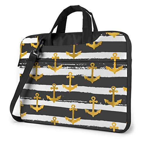 Repeat Golden Anchors Laptop Case Laptop Shoulder Bag 15.6 Inch,Laptop Sleeve Carrying Case with Strap