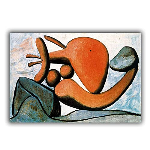 """Framed Pablo Picasso Wall Art Poster Living Room Decor """"Young Girl Throwing A Rock"""" Painting Print Canvas Picasso Decor Artwork"""