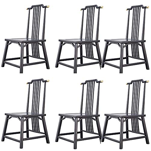 VBARV Classic-Style Solid Wood Dining Chair, Country Farmhouse Black Spindle Side Chair, with Solid Wood Legs, Waterproof & Oilproof, Set Of 6, for Dining Room, Kitchen, Living Room