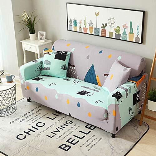 NLADTWLSD Funda de sofá de Alta Elasticidad, impresión Fundas para Sofa Antideslizante Cubierta para Sofa Protector para Sofás Lavable para el Salón (1 Asiento,Gris Violeta)