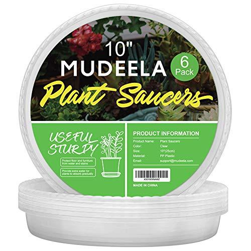 MUDEELA Blumentopf Untersetzer, 6 Stück Blumentopfuntersetzer, Pflanzen Untertopf für Innen- und Außenpflanzen, aus Dickem und Starkem Kunststoff, farblos, Ø 25.5cm